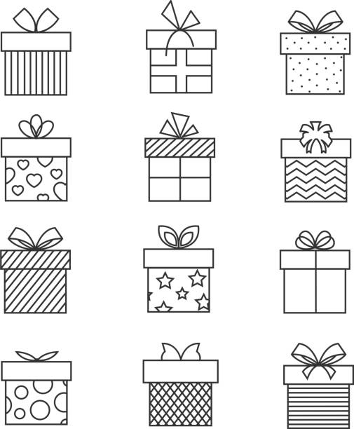 Gift boxes thin line icons. Vector present box linear signs set for celebration design vector art illustration