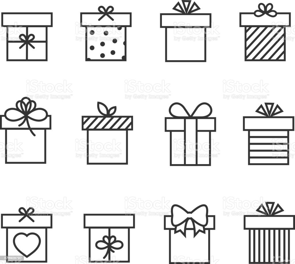 Gift boxes thin line vector icons vector art illustration