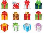 Сollection of vector holiday gift boxes with ribbons.