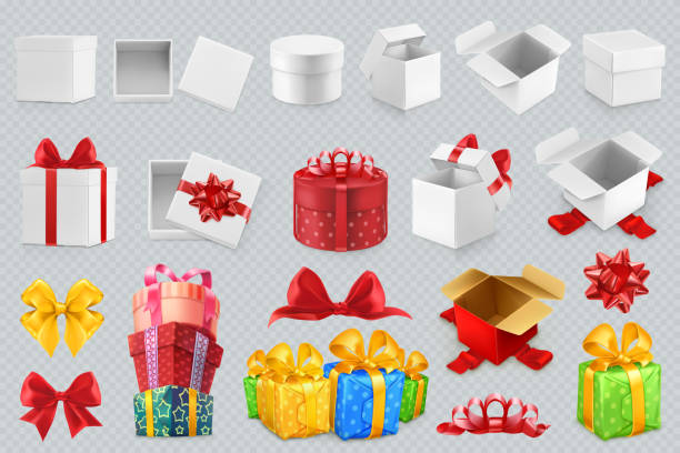 gift boxes with bows. 3d set of vector icons - prezent na urodziny stock illustrations