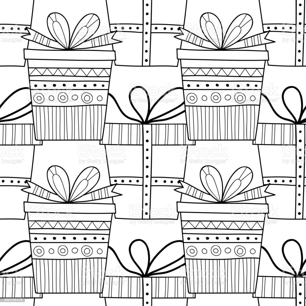 Gift Boxes With Decors Ornaments For Coloring Books Black And White ...