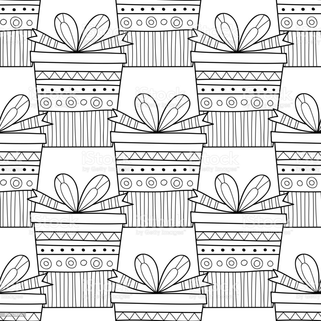 Gift boxes with decors, ornaments for coloring books. Black and white illustration, seamless pattern. royalty-free gift boxes with decors ornaments for coloring books black and white illustration seamless pattern stock vector art & more images of anniversary