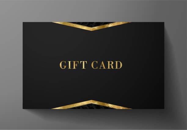 illustrazioni stock, clip art, cartoni animati e icone di tendenza di gift card (gift card discount), black luxury reward card, gift coupon with golden pattern - coupon
