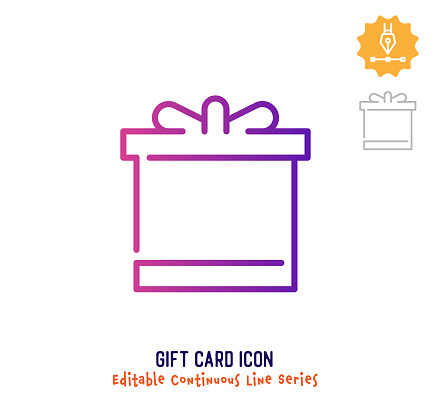 Gift Card Continuous Line Editable Icon