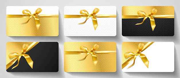 Gift card design collection. Blank template with gold ribbon, bow on luxury golden, black and white background with stars