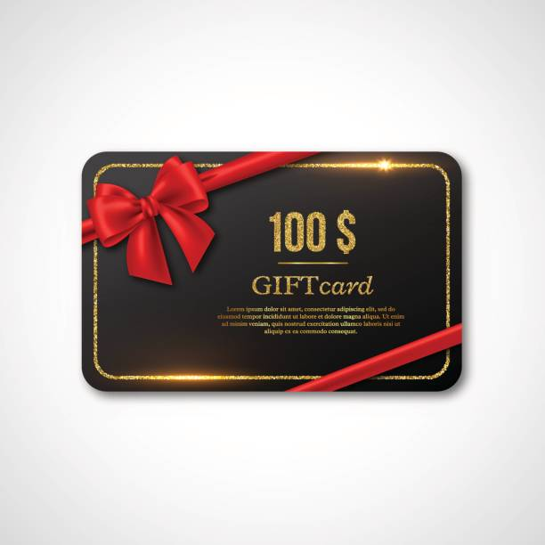 Gift card design. Gift card design with realistic red bow and golden glitter frame. 100 $ voucher, certificate for shopping. Vector illustration. american one hundred dollar bill stock illustrations