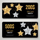 Gift Card Design with Gold Glitter Stars on Black. Invitation Decorative Card Template, Voucher Design, Holiday Invitation. Glowing New Year or Christmas Backdrop. Certificate for Shopping.