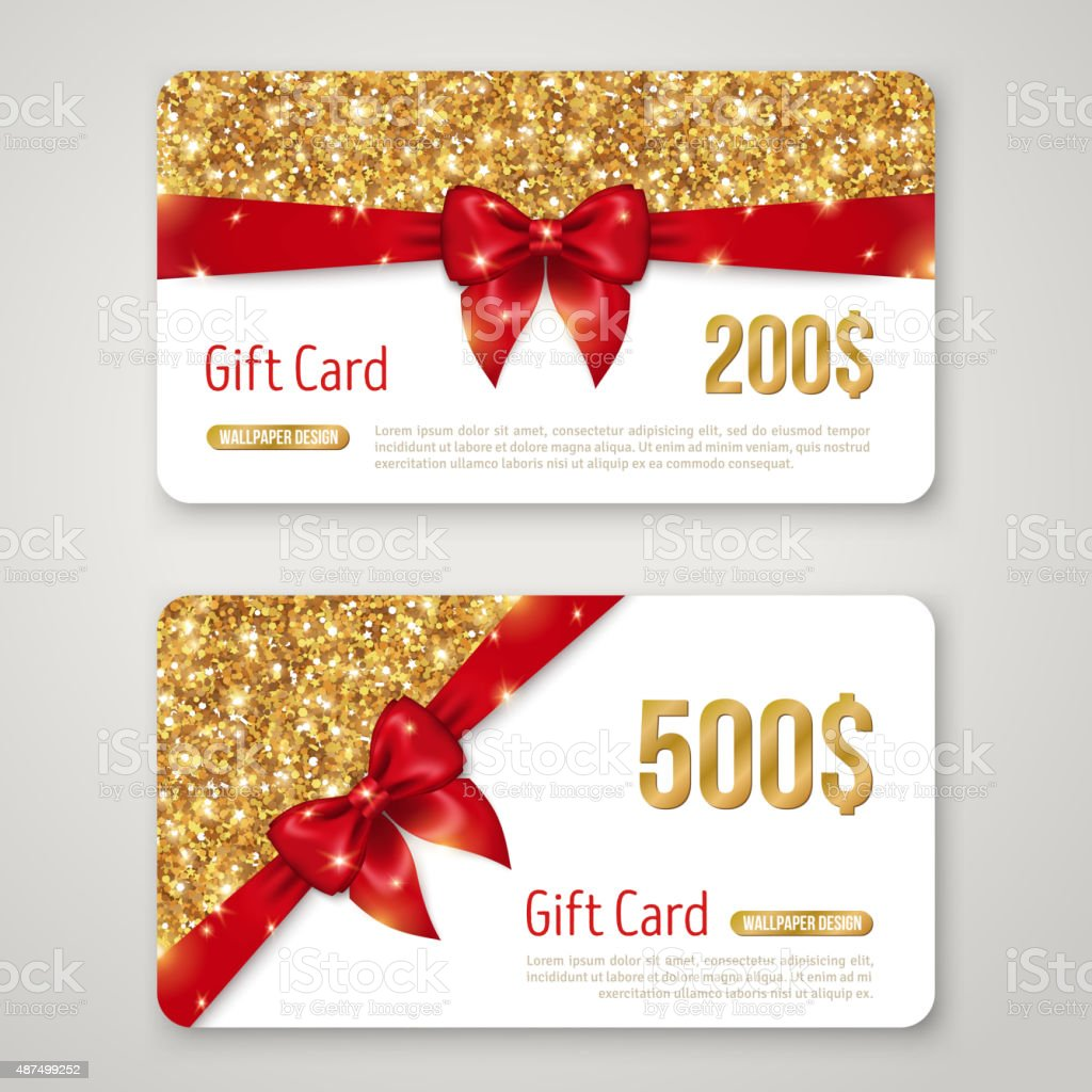 Gift Card Design with Gold Glitter Texture and Red Bow. vector art illustration