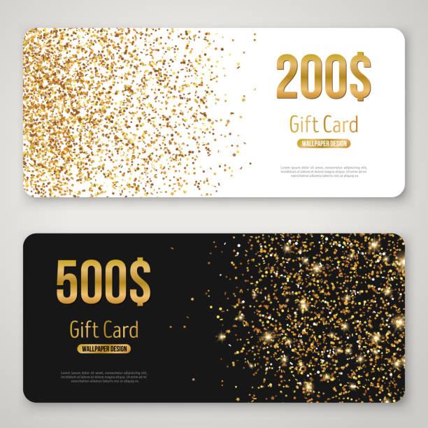 illustrazioni stock, clip art, cartoni animati e icone di tendenza di gift card design with gold glitter texture - coupon