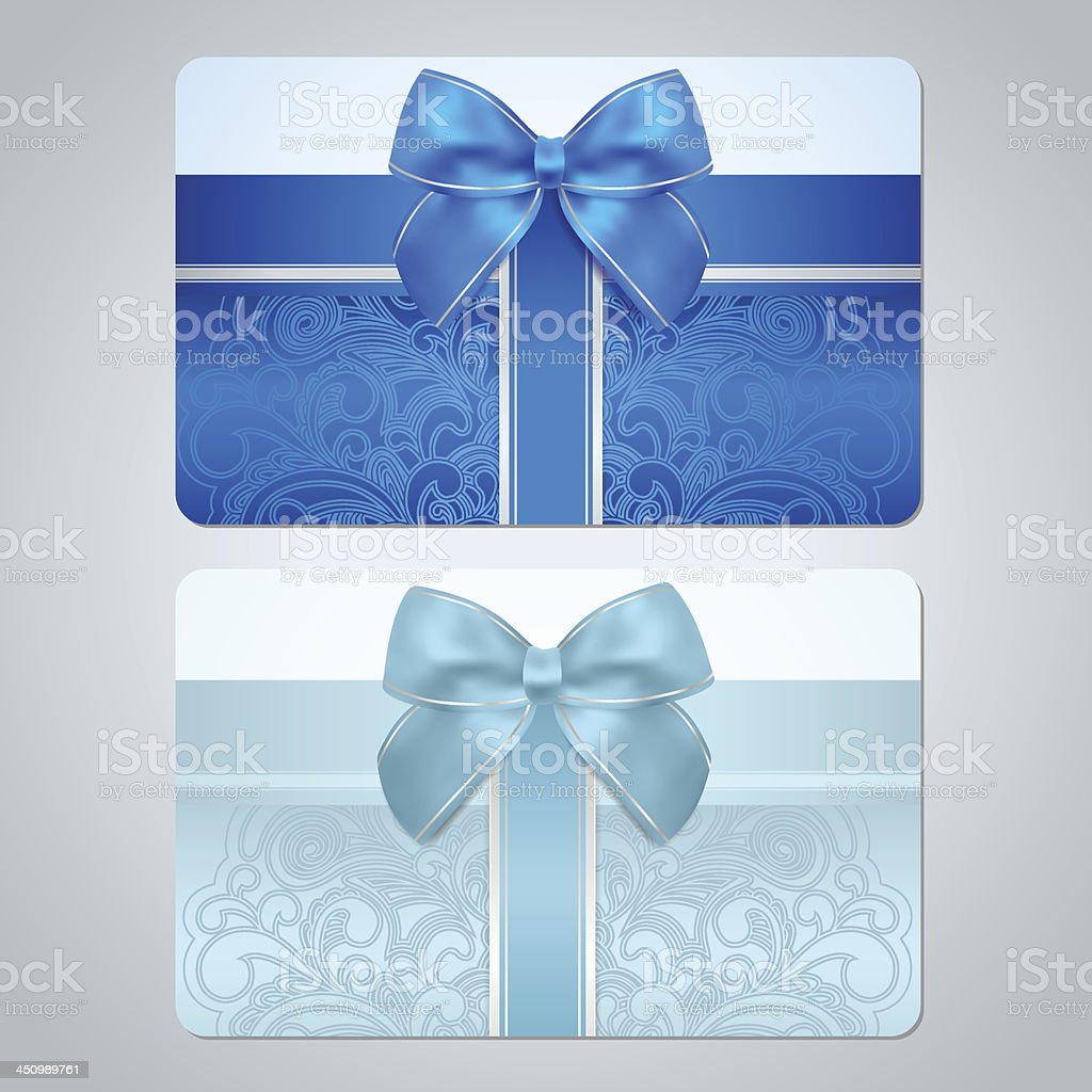 Gift card, discount. Blue, turquoise floral (scroll) pattern and bow vector art illustration