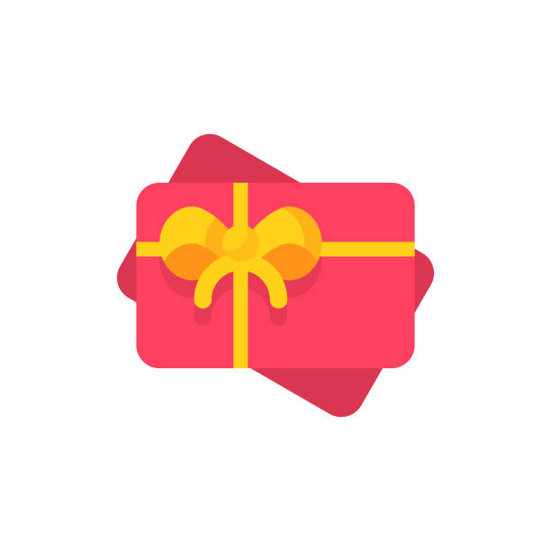 illustrazioni stock, clip art, cartoni animati e icone di tendenza di gift card flat icon. pixel perfect. for mobile and web. - coupon