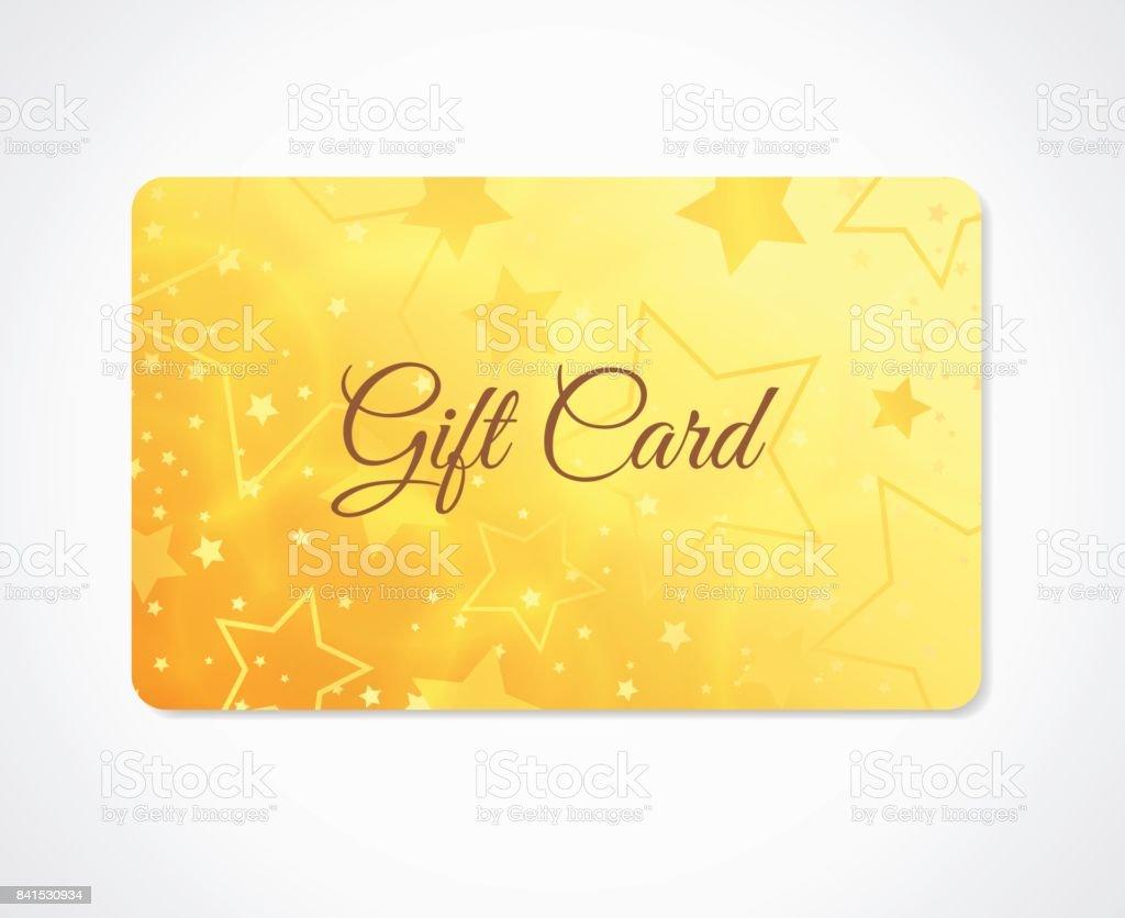 Carte-cadeau, bon-cadeau, (discount, carte de visite) withsparkling, scintillant motif étoiles (texture) - Illustration vectorielle