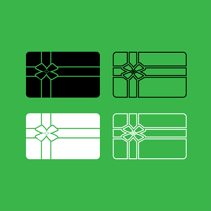 Gift card icon  Black and white color set