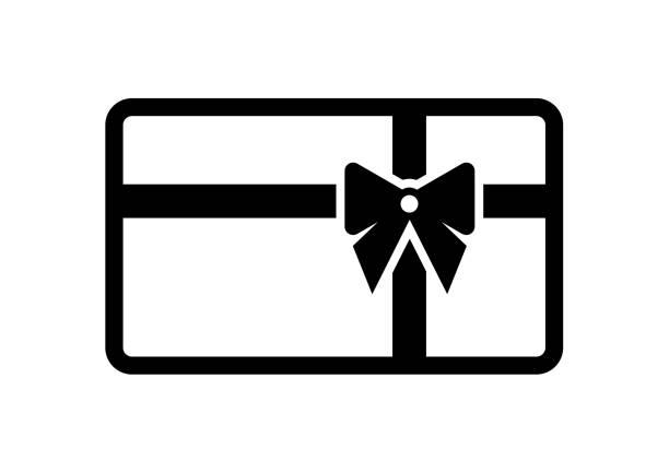 illustrazioni stock, clip art, cartoni animati e icone di tendenza di gift card icon with bow, ribbon isolated on white background - coupon