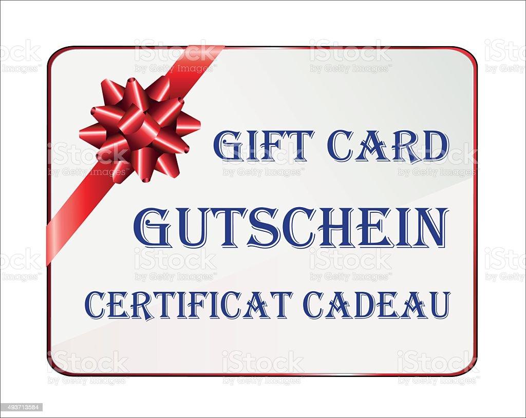 Carte Cadeau En Anglais.Carte Cadeau En Allemand Anglais Et En Francais Vecteurs