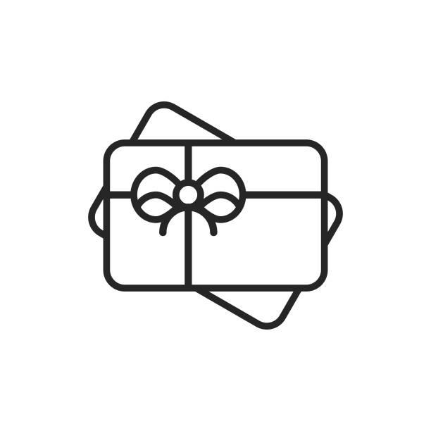 illustrazioni stock, clip art, cartoni animati e icone di tendenza di gift card line icon. editable stroke. pixel perfect. for mobile and web. - coupon