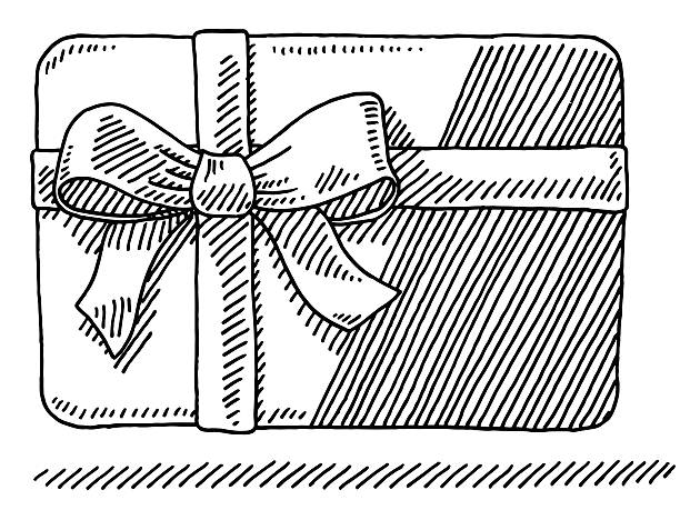 Gift Card Ribbon Bow Drawing Hand-drawn vector drawing of a Gift Card with a Bow and Ribbon. Black-and-White sketch on a transparent background (.eps-file). Included files are EPS (v10) and Hi-Res JPG. celebration stock illustrations