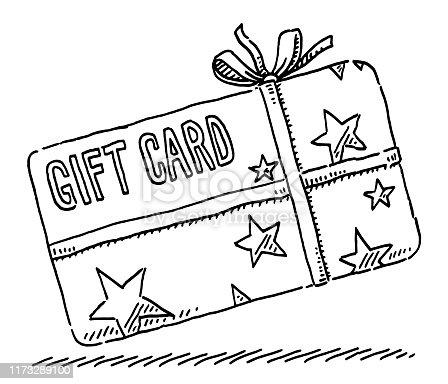 istock Gift Card Stars Ribbon Drawing 1173289100
