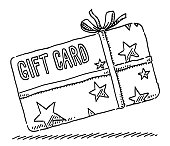 Hand-drawn vector drawing of a Gift Card with Stars and a Ribbon. Black-and-White sketch on a transparent background (.eps-file). Included files are EPS (v10) and Hi-Res JPG.