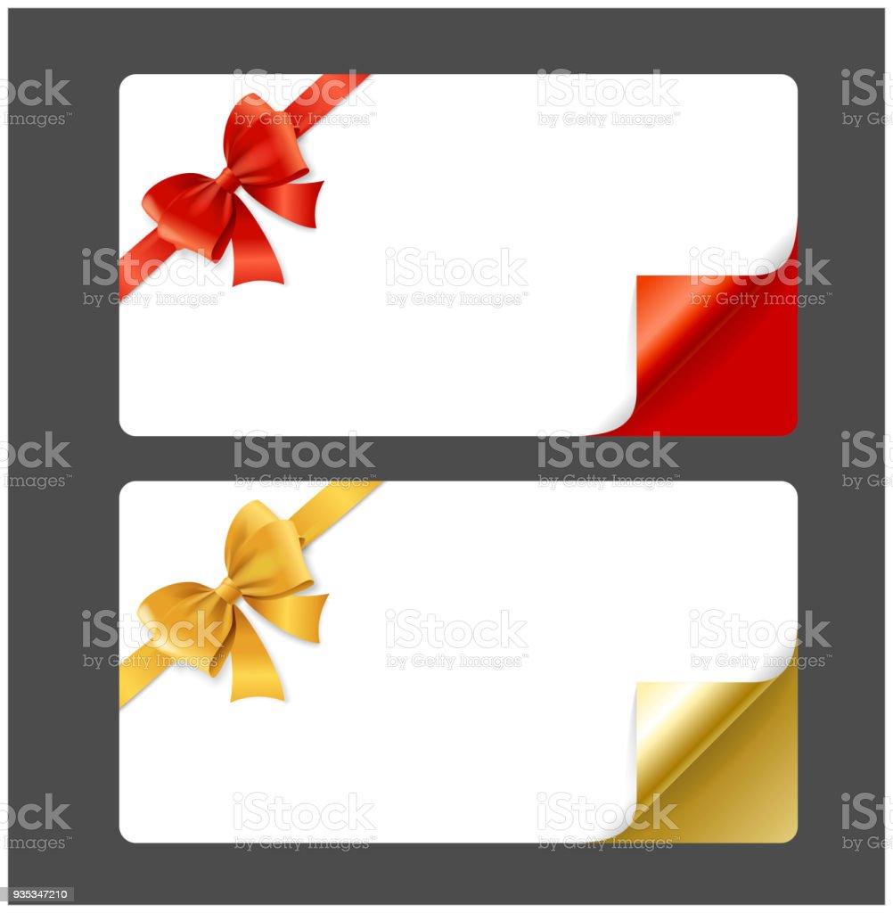 Gift Card Template Silk Ribbon Bow And Curved Corners Vector Royalty Free