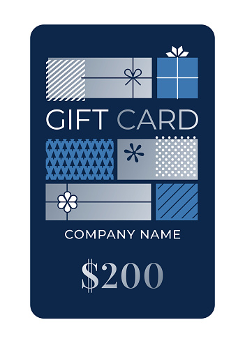 Gift Card Template with blue background.