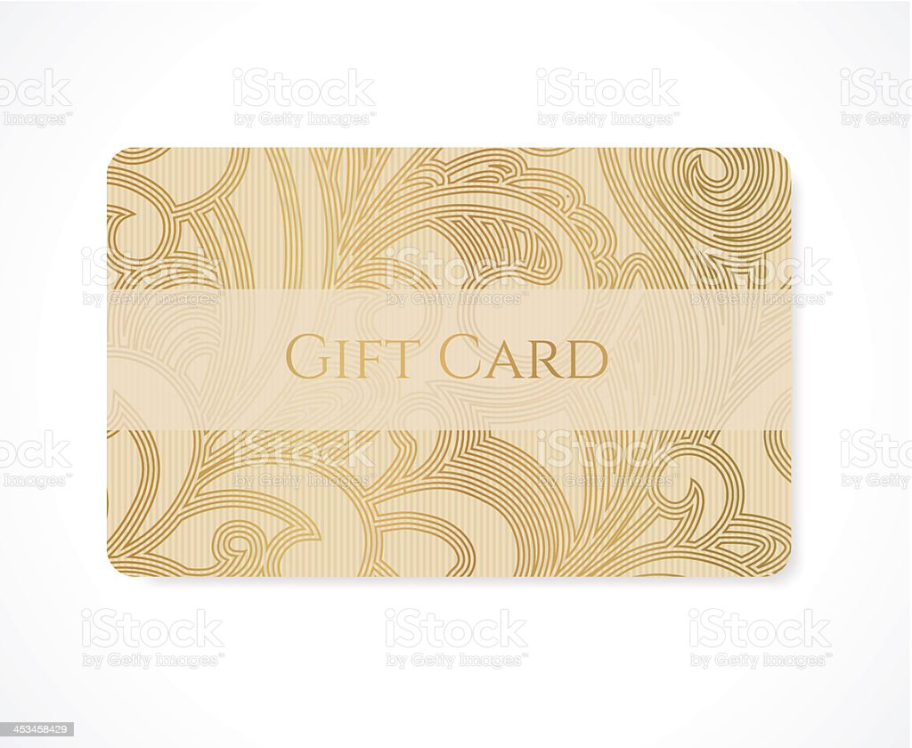 Gift card (discount, business) template with gold scroll pattern (circles) royalty-free stock vector art