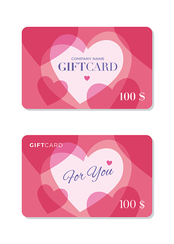 Gift Card template with hearts background.