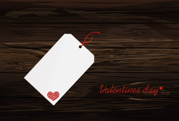 Gift card tied with a red heart. Vector. Valentine's Day. On wooden background Greeting card for the holiday. Gift card tied with a red heart. Vector. Valentine's Day. On wooden background Greeting card for the holiday. bonus march stock illustrations