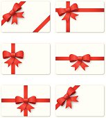 Set of 6 gift cards isolated on white background.