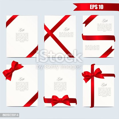 Set gift card vector illustration on white background, luxury wide gift bow with red ribbon and space frame for text, gift wrapping template for banner, poster design. Simple cartoon style.