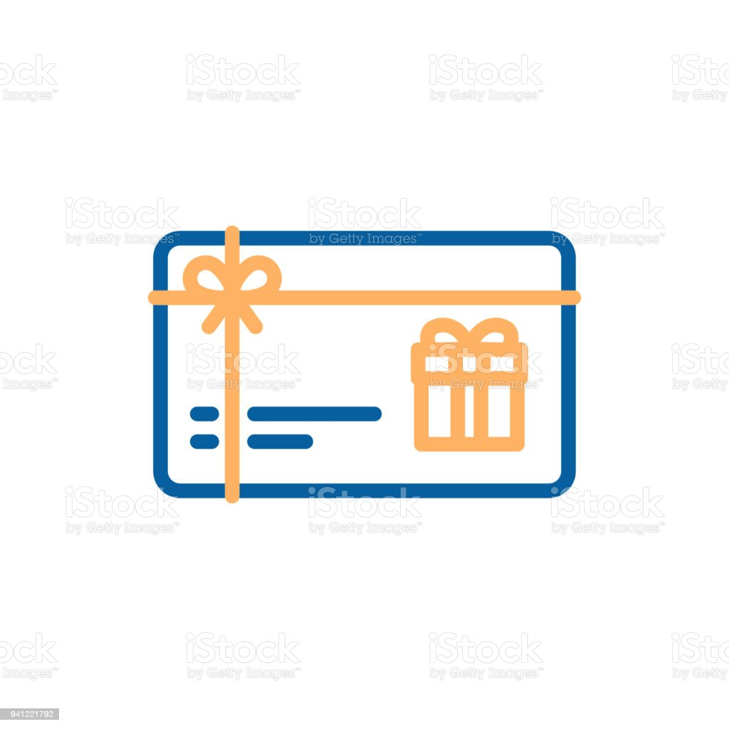 Gift Card Vector Thin Line Icon Voucher Coupon Present Illustration