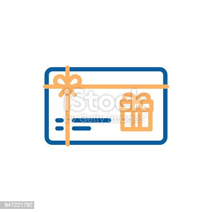 istock Gift card vector thin line icon. Voucher, coupon, present illustration 941221792