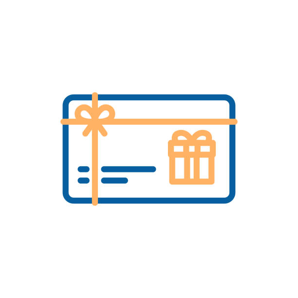 gift card vector thin line icon. voucher, coupon, present illustration - coupon stock illustrations, clip art, cartoons, & icons