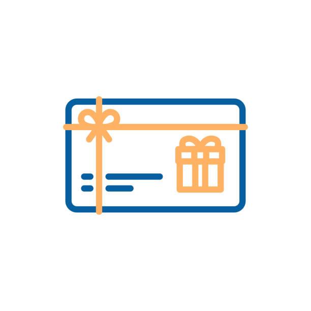 illustrazioni stock, clip art, cartoni animati e icone di tendenza di gift card vector thin line icon. voucher, coupon, present illustration - coupon