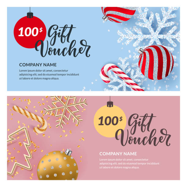 Gift card, voucher, certificate, coupon vector design template. Discount banner for Christmas and New Year holidays sale Gift card, voucher, certificate or coupon vector design template. Discount banner layout for Christmas and New Year holidays sale. Illustration of gold metal Christmas tree, shiny snowflakes and balls coupon stock illustrations