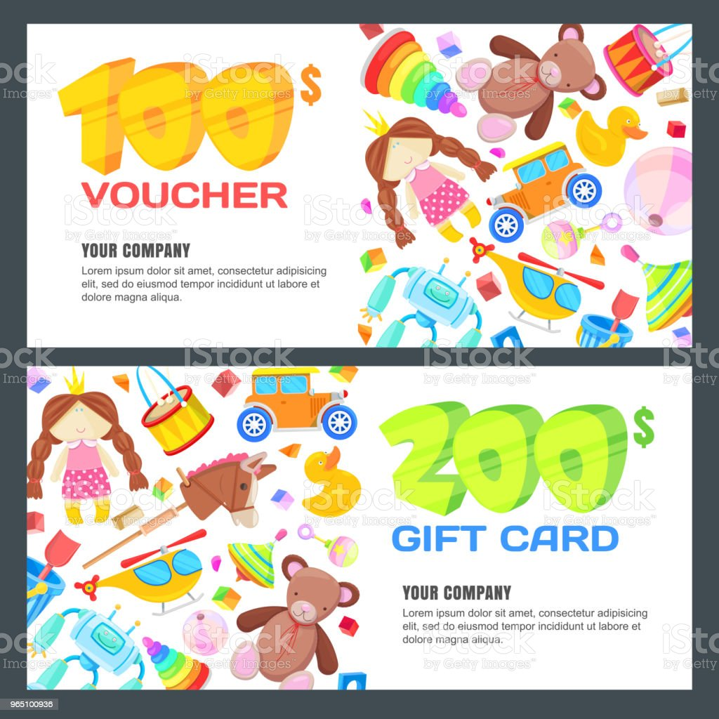 Gift card, voucher, certificate or coupon vector design layout. Discount banner template for kids toys store gift card voucher certificate or coupon vector design layout discount banner template for kids toys store - stockowe grafiki wektorowe i więcej obrazów banner internetowy royalty-free