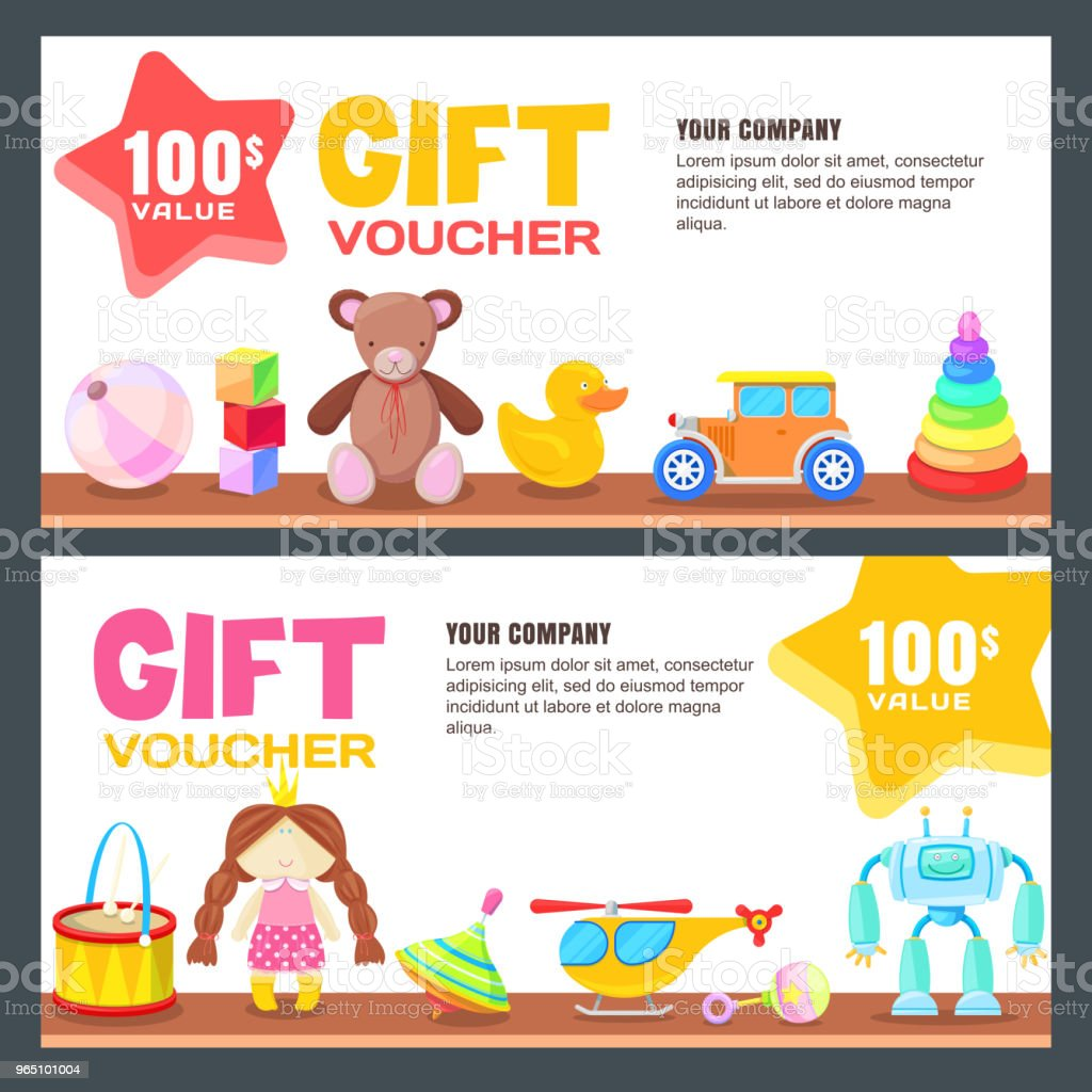 Gift card, voucher, certificate or coupon vector design layout. Discount banner template for kids toys store royalty-free gift card voucher certificate or coupon vector design layout discount banner template for kids toys store stock illustration - download image now