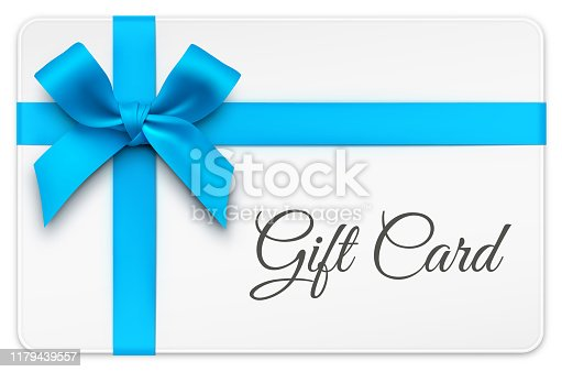 Vector Gift Cards with Blue Bow and ribbons.