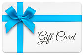 istock Gift Card with Blue Bow 1179439557