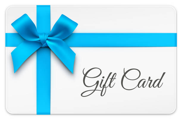 gift card with blue bow - prezent na urodziny stock illustrations