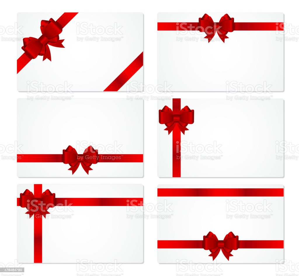 Carte Cadeau En Anglais.Cartecadeau Avec Un Arc Et Ruban Vector Illustration