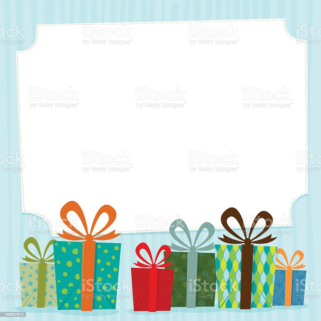 Gift card with colorful decorative gifts on the bottom vector art illustration