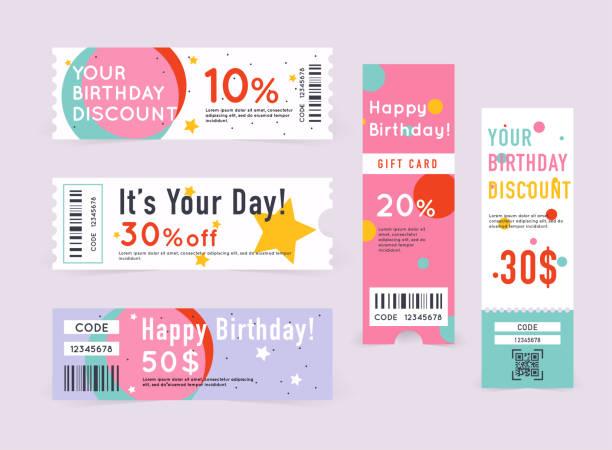 stockillustraties, clipart, cartoons en iconen met cadeaukaart met coupon code - birthday gift voucher