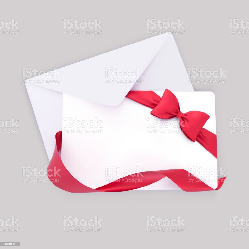 Gift Card With Envelope Red Bow And Ribbon Decoration Vector