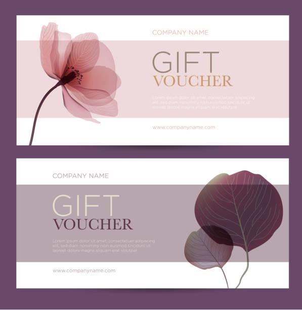 stockillustraties, clipart, cartoons en iconen met cadeaubon met florale decoratie. - birthday gift voucher