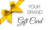 Vector illustration of gift card with gold bow. EPS10 transparency effect, effect transparent shadows.