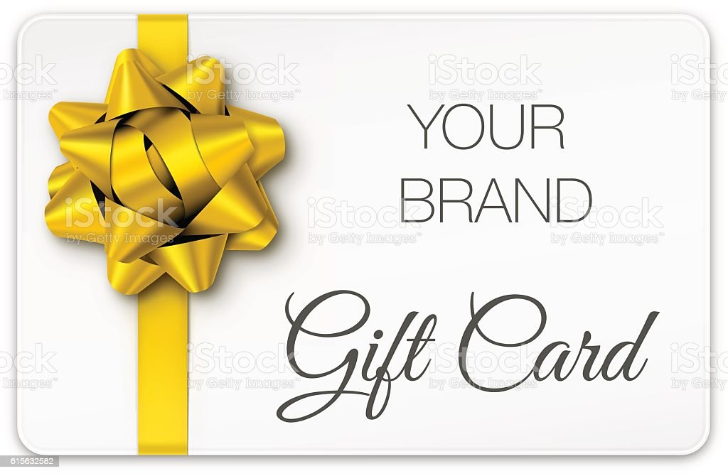 Gift Card with Gold Bow vector art illustration