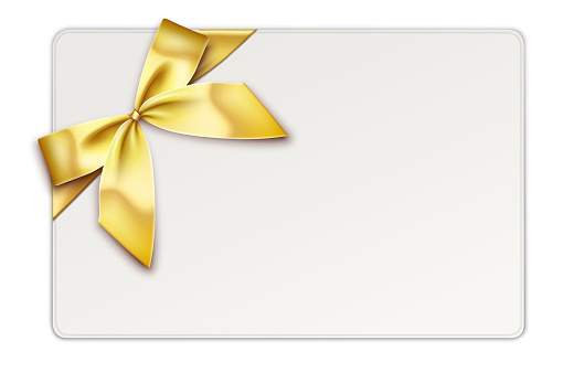 Gift Card with Gold Gift Bow and Ribbons