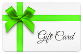 Vector Gift Cards with Green Bow and Ribbons.