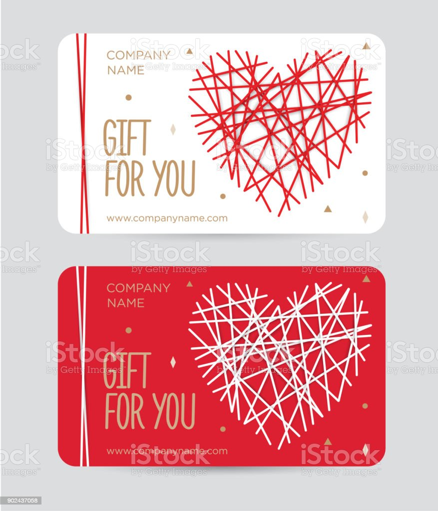 Gift Card With Heart For Valentines Day Certificate A Birthday On Red Background